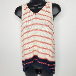 Quinn Coral Navy Knit Sleeveless High Low Sweater